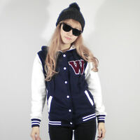 Womens Lovely Hoodie Varsity Baseball Jacket Navy Blue Wpatch XS S M L XL Cotton