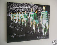 Celtic 1967 Lisbon Lions European Cup Canvas signed x8 Auld McNeil Wallace Craig
