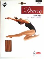 SILKY SHIMMER DANCE TIGHTS Full Foot Colour Toast 4 Adult Sizes S, M, L and XL