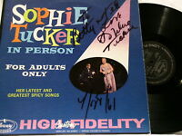 SOPHIE TUCKER In Person Adults Only AUTOGRAPHED LP