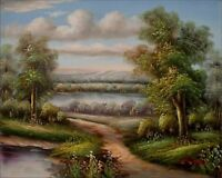 Quality Hand Painted Oil Painting Landscape – Path River Waterhole 8x10in