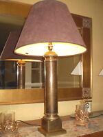 VINTAGE DANISH TALL GENTLEMENS LAMP,ANTIQUE BRASS,SUEDETTE SHADE