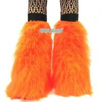 New Neon Orange Fluffy Legwarmers Bootcovers Fluffies Halloween Cyber Rave