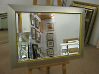 "NEW LARGE MODERN 3"" SILVER FRAMED OVERMANTLE WALL MIRRORS"