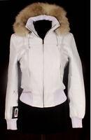 SNOW White Ladies Women's Real Fox Fur Hooded Hoody Winter Bomber Leather Jacket