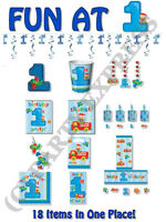 FUN BOYS 1ST BIRTHDAY NAPKINS PLATES DECORATIONS  L@@K 18 ITEMS BOY AGE 1 PARTY