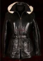 SAPPHIRE Black Ladies Women's Hooded Fur Hoody Winter Real Sheep Leather Jacket