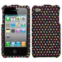 for iPhone 4 4G 4S -Colorful Polka Dots Diamond Bling Rhinestone Hard Case Cover