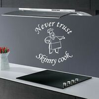 NEVER TRUST... FUNNY HOME KITCHEN DINING ROOM QUOTE WALL ART DECAL STICKER VINYL