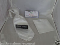 Shiny  White MENS wedding Ruche Tie-Cravat & Hankie-*More U Buy >The More U Save