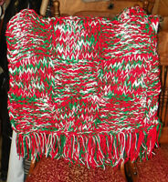 Christmas Green Red White Knitted Afghan Throw Blanket