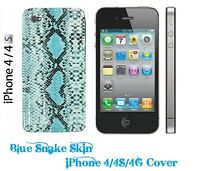 BLUE BLING SNAKE SKIN PREMIUM iPhone 4 4S 4G STYLISH HARD Cover Case Protector