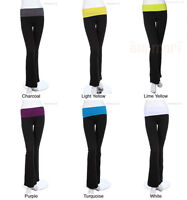 Contrast Color Waist Band Fold Over Yoga Pants (Good Quality) VARIOUS COLOR SIZE