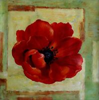 Giant Red Poppy Series 6, Ex. Large Modern Hand Painted Oil Painting 30x30in