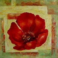 Giant Red Poppy Series 7, Ex. Large Modern Hand Painted Oil Painting 30x30in