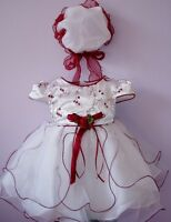 New Christening Wedding Party Dress+Bonnet in Red,Lilac,Hot Pink from 0-9 Months