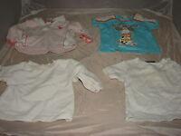 4 T-Shirt  Gr. 62/68 weiß und blau  gebraucht