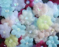 Organza Ribbon Flowers With Pearl Embellishments x 10 - * Choose Your Colour *