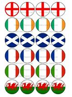 6 SIX NATIONS RUGBY CUP CAKE Rice Paper Edible Photo Toppers x 24