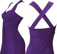 Long Evening Cross Back Maxi Dress (Purple - D1010) -  UK Size 8 - 22