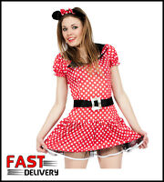 Sexy Minnie Mini Mouse Ladies Fancy Dress Costume & Ears UK 12,14, 16, 18