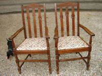 Vintage Two Oak Occasional Chairs  W/Floral Fabric Seats