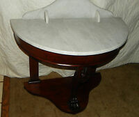 Mahogany Carved Marble Top Entry Table  (T348)