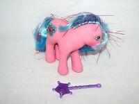 My Little Pony Princess Primrose Tinsel Hair Earth Horse w Purple Wand 1983