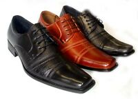 NEW * DELLI ALDO * FASHION MENS LEATHER LACE UP OXFORDS  DRESS SHOES FREE HORN