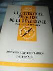 LA LITTERATURE FRANCAISE DE LA RENAISSANCE PAR V. L. SAULNIER N.85