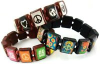 Lot of 3 Wooden Tile Friendship Bracelet Peace Sign Bangle Girls Boys Teens