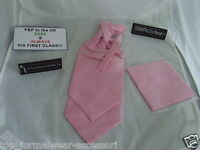 GG  Baby Pink Polyester MENS Scrunchie Ruche Wedding Tie-Cravat and Hankie Set