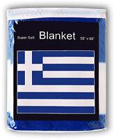 GREECE FLAG FLEECE BLANKET *NEW* Greek Throw Galanolefki Kianolefki Hellenic Rep