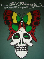 ED HARDY T-SHIRT Skull BUTTERFLY Christian Audigier Tee Top LOGO Green Women's