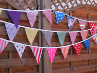 HANDMADE FABRIC BUNTING.BUY ONLY 2 TO GET 3.8FT CLEARANCE,FLORALS,HESSIAN,