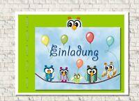 Einladungskarte Kindergeburtstag mit   Umschlag, Eulen