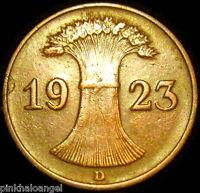 Germany - German Republic - German 1923D Rentenpfennig Coin