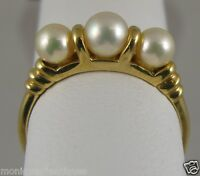 """3 Pearl Ring 14K Yellow Gold 1980's Sgn; """"C"""" Sz-6.25"""