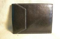 Van Heusen Mens Black Leather Bifold Wallet w/ 6 Credit Card Slots