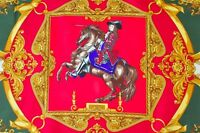 Renato Balestra Red/Green/Gold 'Cavaliers' vintage silk scarf