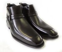 NEW MENS ANKLE BOOTS BUCKLE DESIGN TAPERED FRONT ZIPPER LEATHER SHOES / BLACK