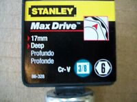 NEW STANLEY 3/8 in Drive Deep 17 mm MAX DRIVE 6  POINT SOCKET