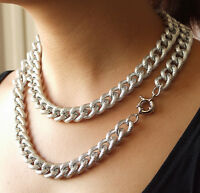 """CHUNKY TEXTURED SILVER ALUMINIUM CURB LINK CHAIN NECKLACE 17MM WIDE 18"""" 24"""" 38"""""""