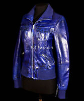 Estella Blue Ladies New Retro Biker Style Bomber Real Waxed Sheep Leather Jacket