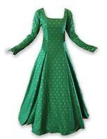 Medieval Renaissance Gown Green Gold Dress Costume LOTR Wedding LARP Shrek L