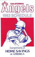 1983 CALIFORNIA ANGELS BASEBALL POCKET SCHEDULE