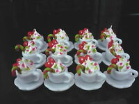 12 Cups of Christmas Cappuccino Coffee Dollhouse Miniatures Food Deco Holiday
