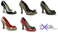 "PLEASER SMITTEN 01 PIN UP COUTURE 4"" HIGH HEEL PATENT CHEETAH SHOES SIZES 3-8"