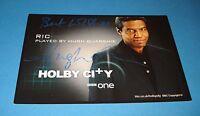 HUGH QUARSHIE GENUINE HAND SIGNED AUTOGRAPH 6x4 CAST CARD HOLBY CITY RIC + COA