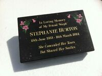 """Black Granite Memorial Tablet deeply Engraved to your requirements 12""""/8""""/2"""""""